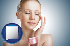 new-mexico a woman applying skin cream to her face